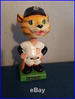 VTG 1960s Detroit tigers mascot bobbing head nodder doll green square base japan