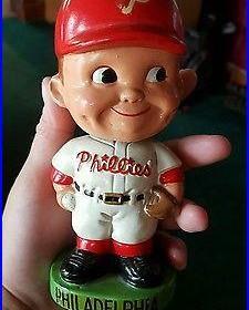 (vtg) 1962 Philadelphia Phillies Bobble Head Nodder Doll Japan Green Base