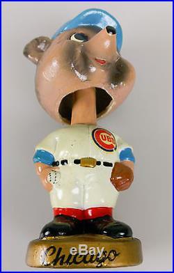 VTG Chicago Cubs Cubbie Baseball Bobblehead Nodder 1960s w. Sticker & Gold Base