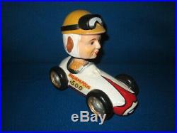 Vintage 1950s/60s Rare Indy Indianapolis 500 Race Car & Driver Bobble Head XLNT
