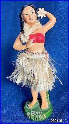 Vintage 1950s Ceramic Chalk Hawaiian Hula Girl Bobble Head Nodder Dashboard Doll