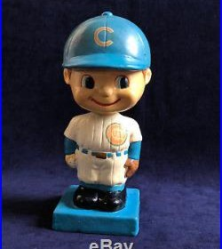 Vintage 1960 -1961 Chicago Cubs Bobble Head With Square Blue Base
