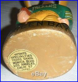 Vintage 1960's Green Bay Packers Football Bobble Head Nodder Composition Japan