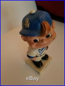 Vintage 1960's Los Angeles Dodgers Bobble Head Nodder Square Base RARE