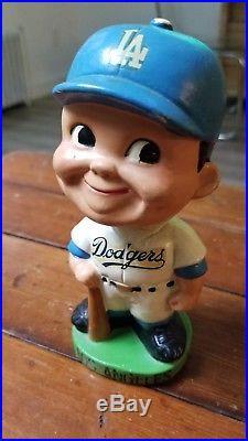 Vintage 1960's Los Angeles Dodgers Bobblehead Nodder Green Base