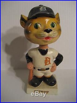 Vintage 1960's Original Mascot Detroit Tigers Bobble-head with White Square Base