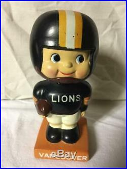 Vintage 1960s CFL Vancouver Lions Bobblehead Square Base Nodder Extremely Rare
