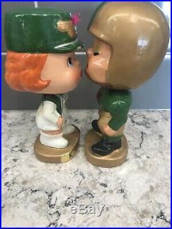 Vintage 1960s Football Player & Majorette Kissing Nodders Bobbleheads Knights