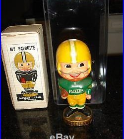 Vintage 1960s Green Bay Packers Bobblehead withOriginal Box and Plastic Case