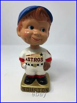 Vintage 1960s Houston Astros Baseball Japan Nodder Bobblehead Blue Hat Gold Base