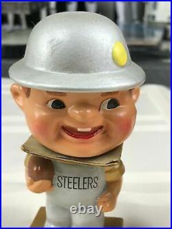 Vintage 1960s Pittsburgh Steelers My Hero Kissing Bobblehead Dolls Original Box