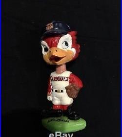 Vintage 1960s St. Louis Cardinals Mascot Bobble Head / Nodder Doll Green Base