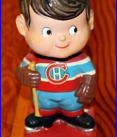 Vintage 1962 Montreal Canadiens Hockey Bobblehead Nodder Made in Japan