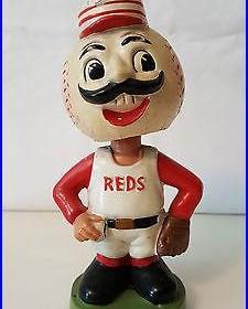 Vintage 1963-65 Cincinnati Reds Red Legs Green Base Bobble head