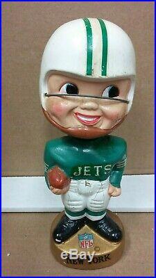 Vintage 1967 Gold Base Bobblehead Nodder New York Jets Free Shipping