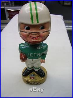 Vintage 1967 New York Jets Bobblehead / Nodder NFL Gold Base, VERY NICE, NR