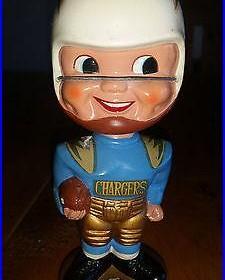 Vintage 1967 San Diego Chargers Gold Base Bobble Head Nodder JAPAN