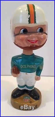 Vintage 1968 Miami Dolphins NFL Football Bobblehead Nodder Gold Base Old Logo