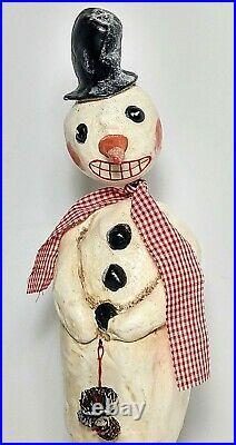 Vintage 2004 Folk Art Penny McAllister Paper Mache Bobblehead Snowman 12.5