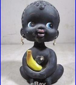 Vintage Antique Original Chalkware Black Americana Bobble Head Baby Girl Bank
