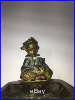 Vintage Austrian Bronze Pipe Smoking Nodder Bobble Head Ashtray Cold Painted