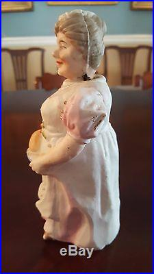 Vintage Bisque Nodder Bobble Head Couple Man Serving Wine Wife Food Tray
