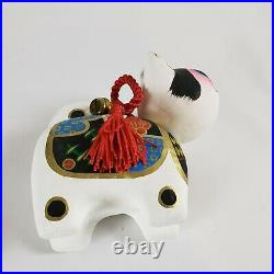 Vintage Bobble Head Japanese Chinese Lucky Cat Hand Painted Paper Mache Nodder