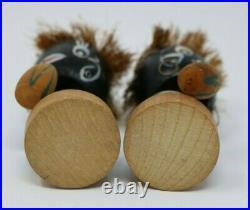 Vintage Bobbler Native Bongo Drummer Pair of Wooden Bobble Heads Rare