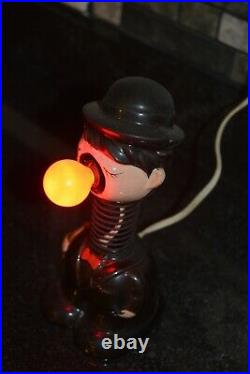 Vintage Charlie Chaplin Bobble Head Lamp Red Nose Lights up 1940s-50s sonsco