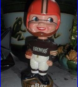 Vintage Cleveland Browns Bobble Head Doll, Gold Base with Sticker 1960