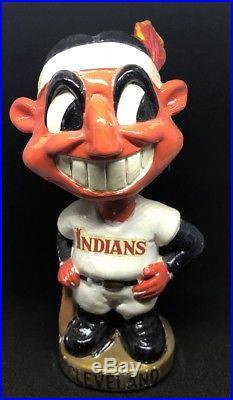 Vintage Cleveland Indian Bobblehead Rare Gold Base Chief Wahoo Baseball