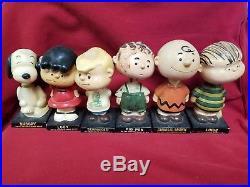 Vintage Complete set 6 Figure Peanuts Gang Bobblehead Nodder LEGO rare Japan
