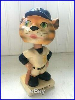 Vintage Detroit Tigers Mascot BOBBLEHEAD Nodder 1960s White Base