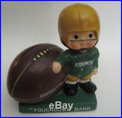 Vintage EDMONTON ESKIMOS Football Player Nodder Bobblehead Touchdown Bank