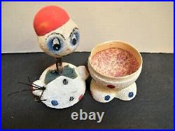 Vintage German Snowman Candy Container Bobble Head Birch Twig West Germany Putz