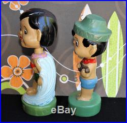 Vintage HAWAIIAN SURFER BOBBLEHEAD FIGURINES HAWAII SOUVENIR SURF COUPLE