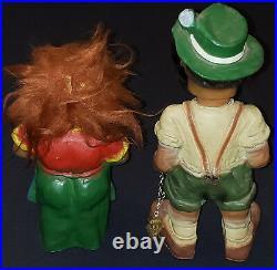 Vintage Heico West Germany Hiker + Barmaid Troll Bobble Heads /nodders (2)