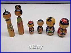 Vintage Japanese KOKESHI Nodder Bobble Head Dolls Family