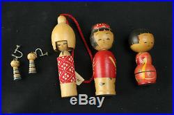 Vintage Japanese Kokeshi Wooden Doll Bobblehead Nodder Collection 15 + Earrings