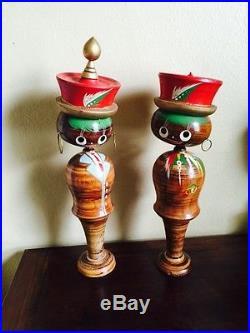 Vintage LARGE 16' Kokeshi Wood Nodder Bobble Head Dolls Pair Korean