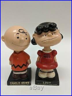 Vintage Lot of 5 Lego Japan Peanuts Bobblehead Nodders Lucy Charlie Snoopy Linus