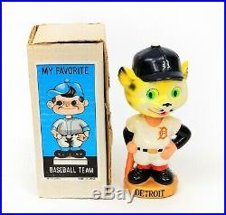 Vintage MLB Baseball Detroit Tigers Mascot Nodder Bobble Head GOLD Base with Box