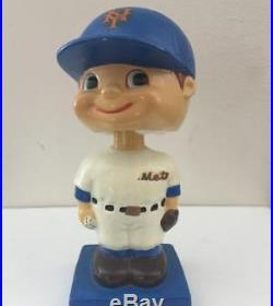 Vintage MLB New York Mets Bobble Head Blue Wood Base Nodder Extremely Rare! Mint