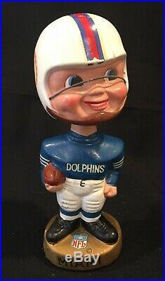 Vintage Miami Dolphins NFL Round Gold Base Bobblehead Nodder 1968