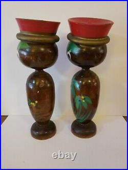 Vintage Mid Century Hand Painted Wood Tribal Bobble Heads Pair Native Palms 11