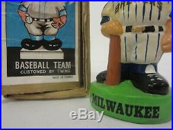 Vintage Milwaukee Brewers Nodder Bobblehead Green Base with Original Box
