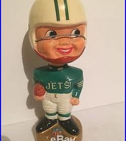 Vintage NFL Football New York Jets Gold Base Bobble Head Nodder Doll 1960