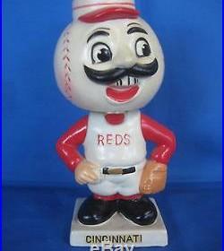 Vintage Original 1962 Cincinnati Reds Bobblehead Mascot White Square Base