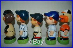 Vintage Original Lot Of 5 Bobble Head Dolls Pirates Yankees Mets Orioles Red Sox