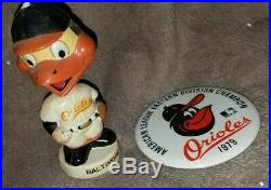 Vintage Rare Baltimore Orioles Mascot 1960's Bobblehead & Pin